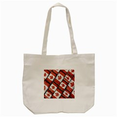 Canadian Flag Motif Pattern Tote Bag (cream)