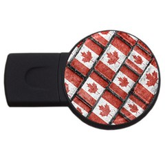 Canadian Flag Motif Pattern Usb Flash Drive Round (4 Gb)
