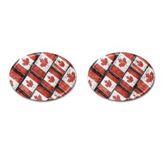 Canadian Flag Motif Pattern Cufflinks (oval)