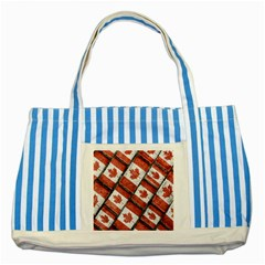 Canadian Flag Motif Pattern Striped Blue Tote Bag