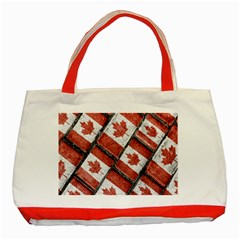 Canadian Flag Motif Pattern Classic Tote Bag (red)