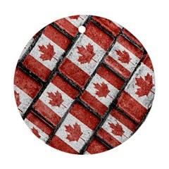 Canadian Flag Motif Pattern Round Ornament (two Sides)