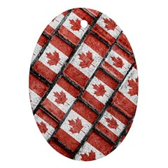 Canadian Flag Motif Pattern Oval Ornament (two Sides)