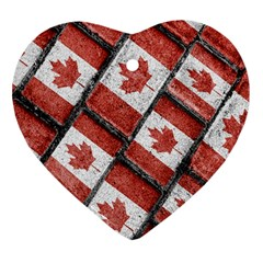 Canadian Flag Motif Pattern Heart Ornament (two Sides)