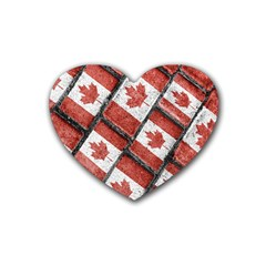 Canadian Flag Motif Pattern Rubber Coaster (heart)