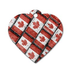 Canadian Flag Motif Pattern Dog Tag Heart (two Sides)