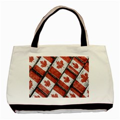 Canadian Flag Motif Pattern Basic Tote Bag (two Sides)