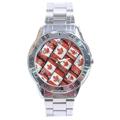 Canadian Flag Motif Pattern Stainless Steel Analogue Watch