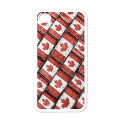 Canadian Flag Motif Pattern Apple Iphone 4 Case (white)
