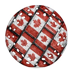 Canadian Flag Motif Pattern Round Filigree Ornament (two Sides)
