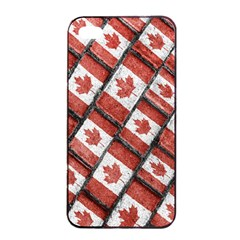 Canadian Flag Motif Pattern Apple Iphone 4/4s Seamless Case (black)