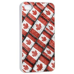 Canadian Flag Motif Pattern Apple Iphone 4/4s Seamless Case (white)