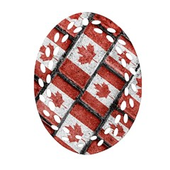 Canadian Flag Motif Pattern Oval Filigree Ornament (two Sides)