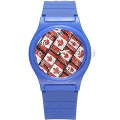 Canadian Flag Motif Pattern Round Plastic Sport Watch (s)
