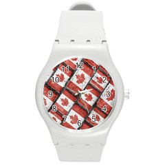 Canadian Flag Motif Pattern Round Plastic Sport Watch (m)