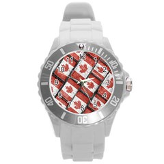 Canadian Flag Motif Pattern Round Plastic Sport Watch (l)