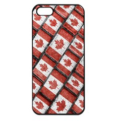 Canadian Flag Motif Pattern Apple Iphone 5 Seamless Case (black)