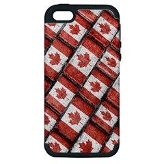 Canadian Flag Motif Pattern Apple Iphone 5 Hardshell Case (pc+silicone)