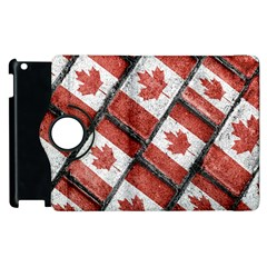 Canadian Flag Motif Pattern Apple Ipad 2 Flip 360 Case