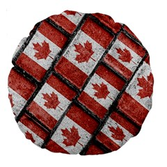 Canadian Flag Motif Pattern Large 18  Premium Round Cushions