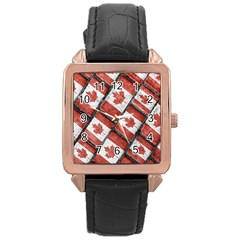 Canadian Flag Motif Pattern Rose Gold Leather Watch