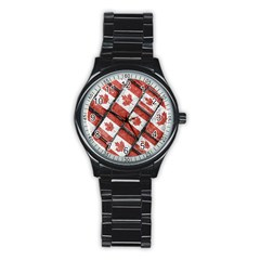 Canadian Flag Motif Pattern Stainless Steel Round Watch