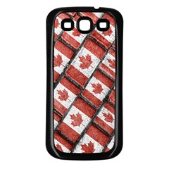 Canadian Flag Motif Pattern Samsung Galaxy S3 Back Case (black)