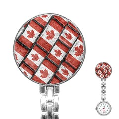 Canadian Flag Motif Pattern Stainless Steel Nurses Watch
