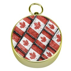 Canadian Flag Motif Pattern Gold Compasses