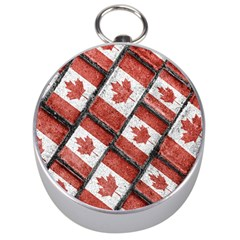 Canadian Flag Motif Pattern Silver Compasses