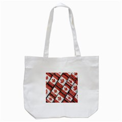 Canadian Flag Motif Pattern Tote Bag (white)