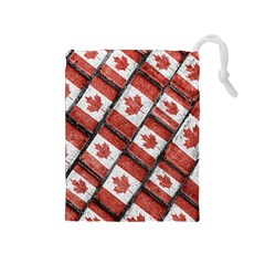 Canadian Flag Motif Pattern Drawstring Pouches (medium)