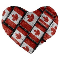 Canadian Flag Motif Pattern Large 19  Premium Flano Heart Shape Cushions