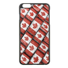 Canadian Flag Motif Pattern Apple Iphone 6 Plus/6s Plus Black Enamel Case