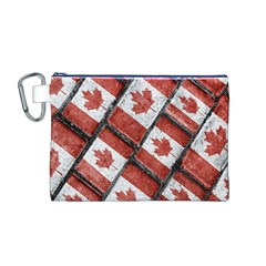 Canadian Flag Motif Pattern Canvas Cosmetic Bag (m)