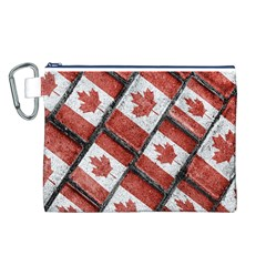 Canadian Flag Motif Pattern Canvas Cosmetic Bag (l)
