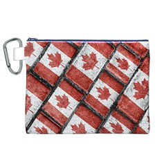 Canadian Flag Motif Pattern Canvas Cosmetic Bag (xl)