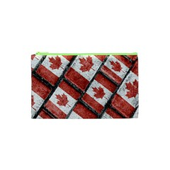 Canadian Flag Motif Pattern Cosmetic Bag (xs)