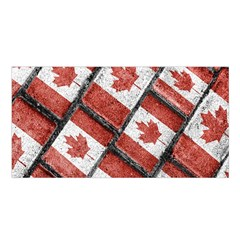 Canadian Flag Motif Pattern Satin Shawl