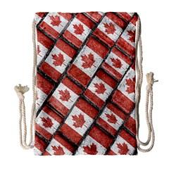 Canadian Flag Motif Pattern Drawstring Bag (large)
