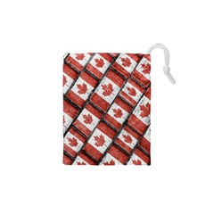 Canadian Flag Motif Pattern Drawstring Pouches (xs)