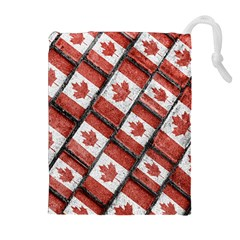 Canadian Flag Motif Pattern Drawstring Pouches (extra Large)