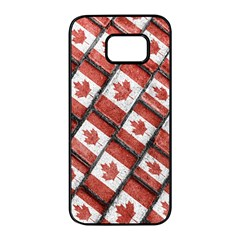 Canadian Flag Motif Pattern Samsung Galaxy S7 Edge Black Seamless Case