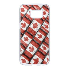 Canadian Flag Motif Pattern Samsung Galaxy S7 Edge White Seamless Case