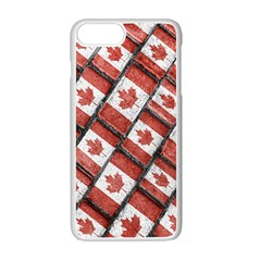 Canadian Flag Motif Pattern Apple Iphone 7 Plus White Seamless Case