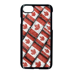 Canadian Flag Motif Pattern Apple Iphone 7 Seamless Case (black)
