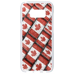 Canadian Flag Motif Pattern Samsung Galaxy S8 White Seamless Case