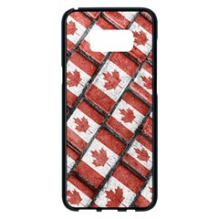 Canadian Flag Motif Pattern Samsung Galaxy S8 Plus Black Seamless Case
