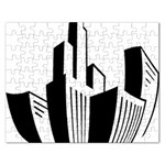 Tower City Town Building Black White Rectangular Jigsaw Puzzl Front