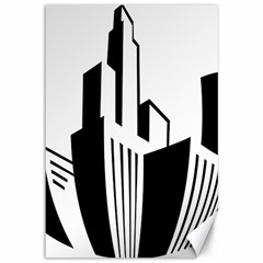 Tower City Town Building Black White Canvas 12  X 18